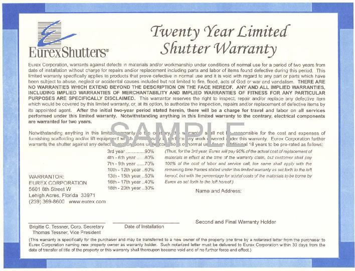 Eurex Shutters Sample Warranty