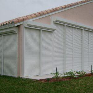 white roll down shutters