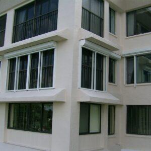 roll shutters on condominium building