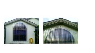 clear hurricane shutters on light house