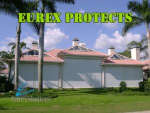 eurex hurricane shutters on a house