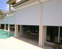 hurricane shutters on a patio in southwest florida