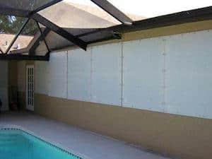 fabric shutters near pool